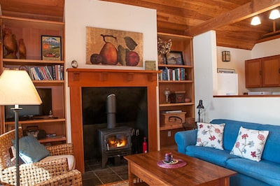 Living room with cozy woodstove.