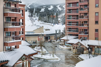 Balcony view of Plaza, just steps through the Maggie to the Quick Silver Lift