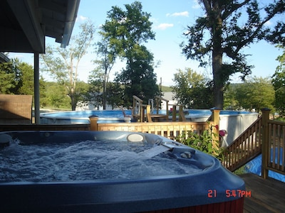 Soak in the hot tub after a long day tailgating or a dip in the pool.