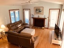 "The Family Room with 2 new leather sofas (one with chaise) plus 49"" HD Roku TV"