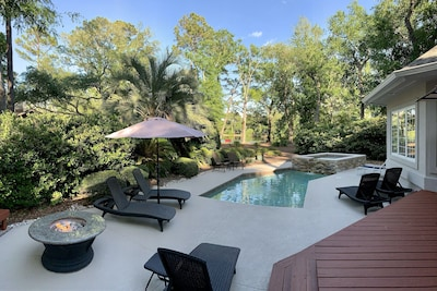 Spend the day or an hour on our beautiful pool deck featuring a spa & fire pit.