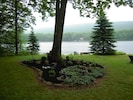 Rainy morning at the cottage. See the mist on the mountain?