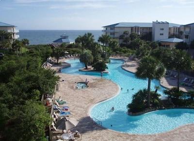 Pool and Beach from neighbor's balcony