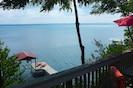 view of Seneca lake from deck - taken from doorway of house.
