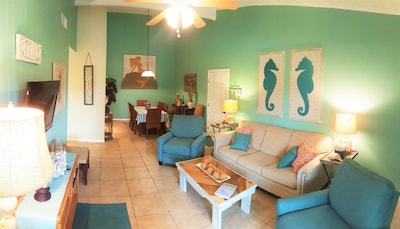 Spacious living area adjacent to Dining area
