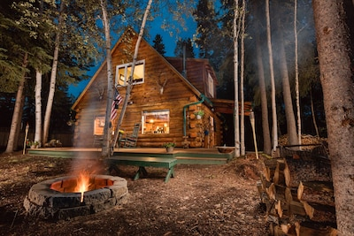 Moose Walk Cabin night view