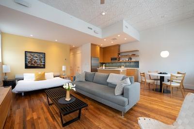 Living area with sleeper sofa down