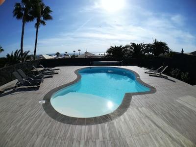 Heated pool.