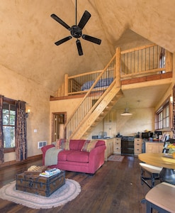The cabin is small and thoughtfully laid out.  Perfect for a relaxing getaway!
