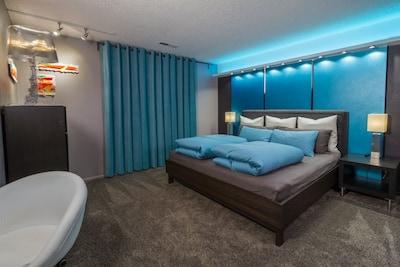 MasterBedroom: latex King mattress European down comforters & pillows. COMFY.
