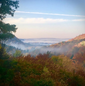 Scenic view from the wrap-around deck of Rye Chalet's Hidden Valley