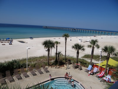 View of the west pool, beach and City Pier from our balcony