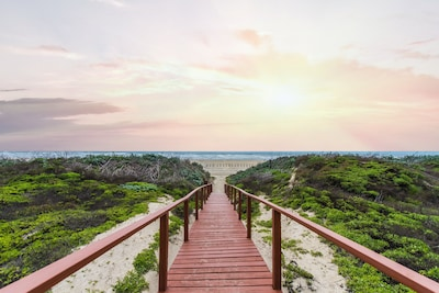 Boardwalk to the beach.  A two minute walk max from our efficiency!