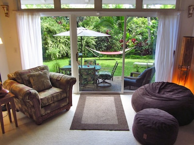 Looking from the den to the backyard; the bean bag chair turns into a queen bed.