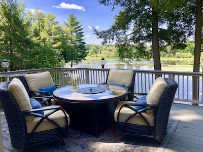 Peaceful Deck with Great Lake views, Comfortable Fire Table