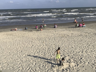 Fun time at the beach across the street