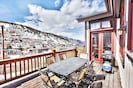 2nd level deck with patio dining table, awning, BBQ, views of PCMR & OldTown.