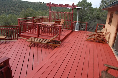 Back deck with dining table