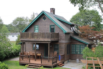 Cottage exterior with deck views