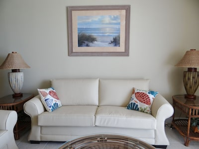 Living room with new sleeper sofa.