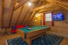 Game Room, 32 IN TV  2 Full Futons , Pool Table , Checkers , Cards