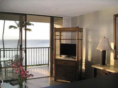View of living room and lanai with ocean just beyond the grassy lawn and jacuzzi