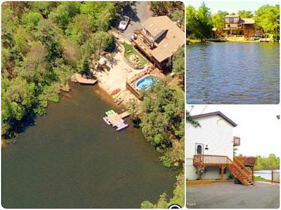 Satellite view - sandy beach, pool, hot tub, 2 docks, play set, large driveway
