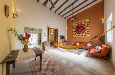 Living room with authentic colonial ceilings