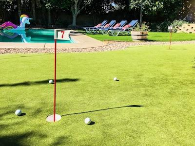 Villa Villeta has it all! 4 hole putting green, pool, spa, & plenty of shade!