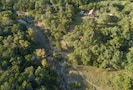 Aerial view of the cabin and surrounding area and Smith Creek.