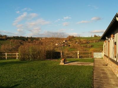 Montpinçon village center, on the hill, seen from your garden