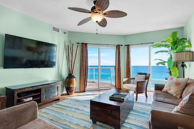 65 inch Smart TV in living room overlooking the Gulf of Mexico and Beach