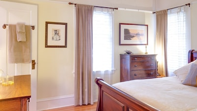 Master bedroom features a queen memory foam mattress, luxury linens & bathrobes.