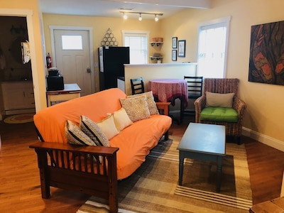 Living area with full size futon