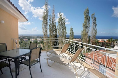 Penthouse Sea View Apartment in Tala, Paphos, Cyprus in quite location with pool