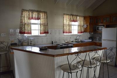 Open plan kitchen area by access door