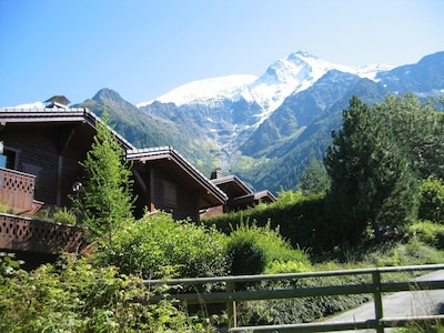 View of chalet (right) & Mont Blanc Range