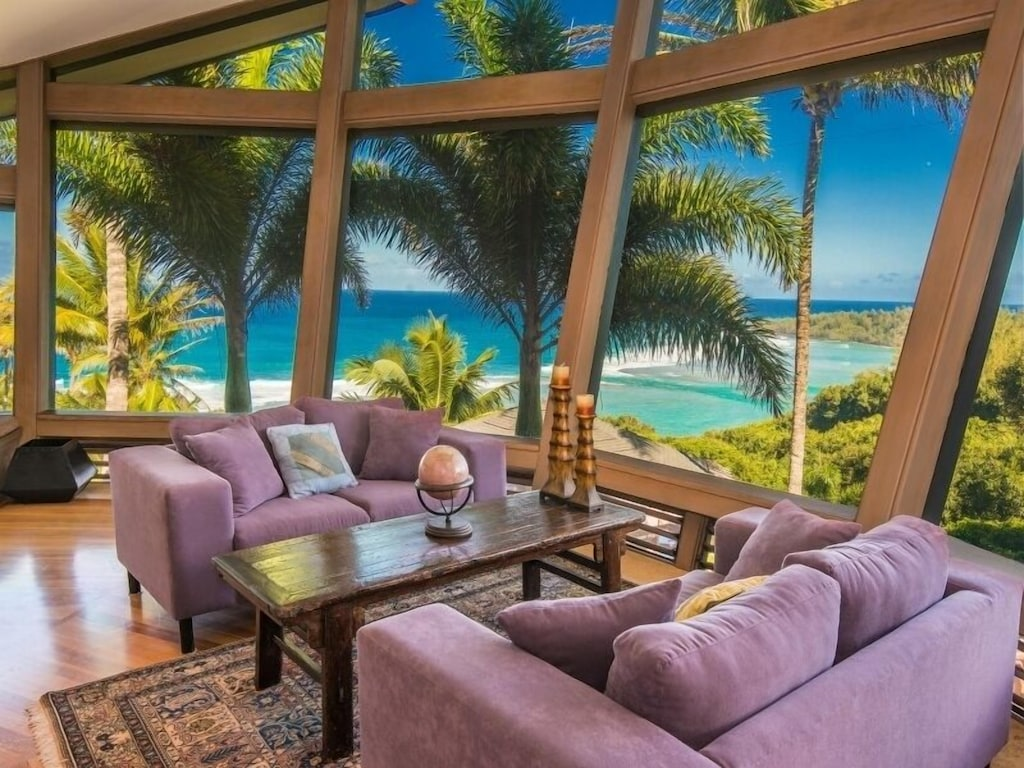 The stunning views from this Hawaii beach house makes this one of the best Hawaii house rentals on the market