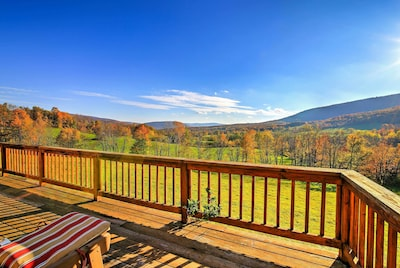 The cabin is on 125 acres of land providing unobstructed hillside views!