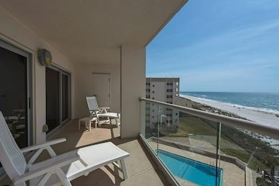Regency Towers unit 703W - Beach Front Balcony with Glass Railing System