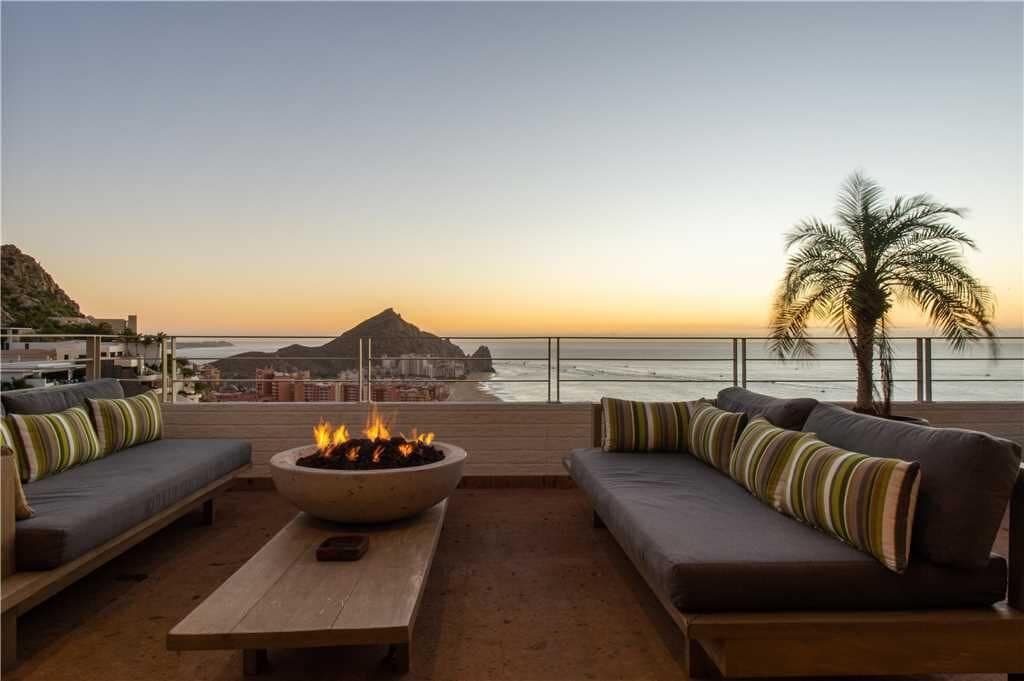 Expansive views with seating and fire pit