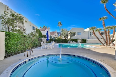 Beautiful pool and spa with mountain views in the center of the complex.