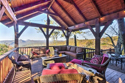 Marvel at unrivaled mountain views from this luxurious vacation rental cabin.