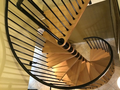 Imported spiral staircase from Italy to access the loft (second bedroom)