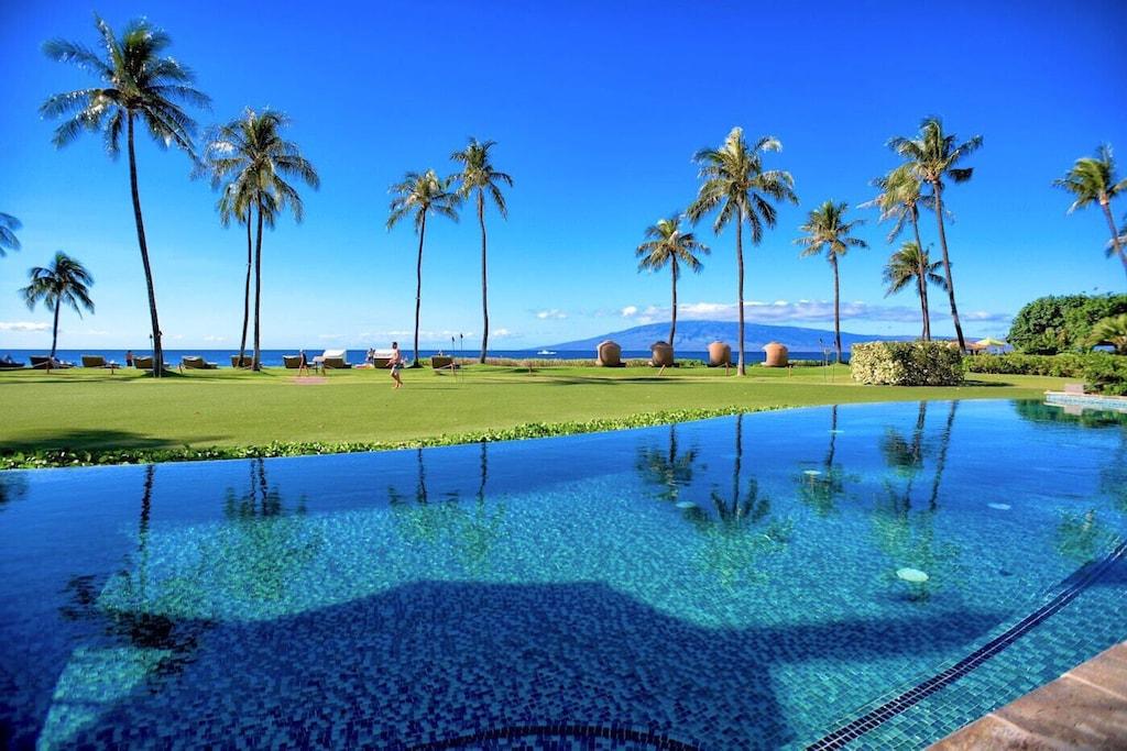 Pool and ocean views from this Hyatt residence in Kaanapali