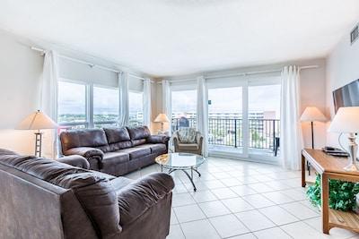 Flat screen TV and Balcony Views