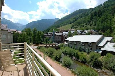Viking Lodge 311 - this is your top floor view! Overlooking the San Miguel River & Ajax Peak.