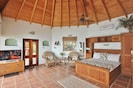 The beautiful vaulted ceiling in Hibicus Cottage
