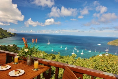 Hibiscus Cottage. Luxurious, private & affordable, with incredible views overlooking the Caribbean Sea