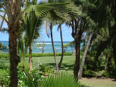 Ocean View from Lanai & living Room Looking toward bike path and Swimming Beach